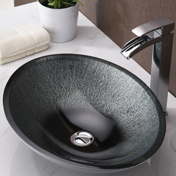 Egret Series Glass Oval Vessel Bathroom Sink by ANZZI