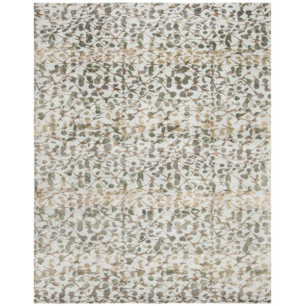 Martha Stewart Abstract Trellis S. House Slate Hand-Knotted Silk/Wool Blue/Brown Area Rug