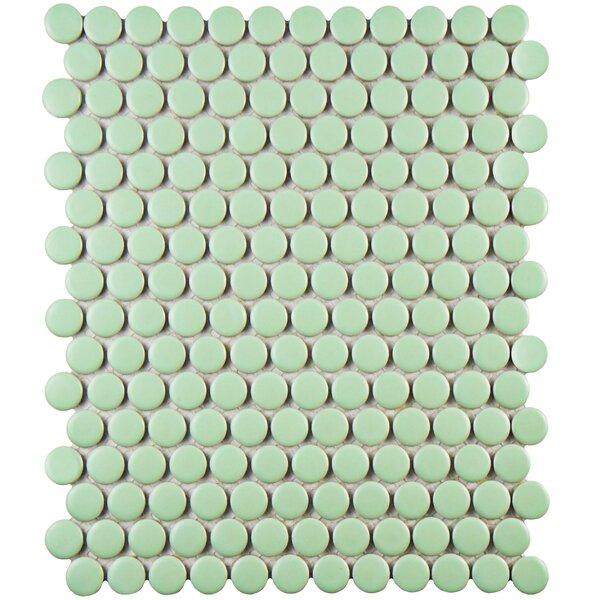 Retro Penny Round 0.75 x 0.75 Porcelain Mosaic Til