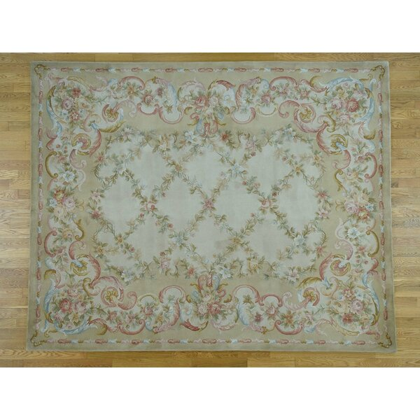 One-of-a-Kind Jaidyn Hand-Knotted Beige/Pink 12' x 15' Wool Area Rug