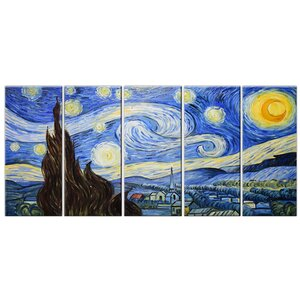 Starry Night' by Van Gogh 5 Piece Painting on Wrapped Canvas Set by Design Art