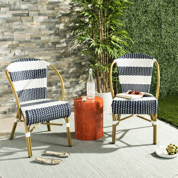 Ouatchia French Stacking Patio Dining Chair (Set Of 2) By Bungalow Rose by Bungalow Rose Today Sale Only