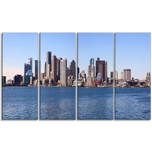 Boston Skyline Panorama - Cityscape 4 Piece Photographic Print on Wrapped Canvas Set by Design Art