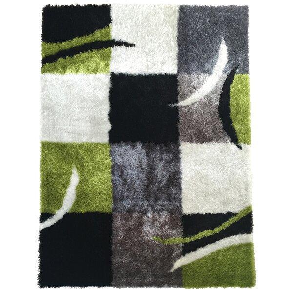 Mcglothin Geometric Shag Hand-Tufted Black/Green Area Rug by Latitude Run