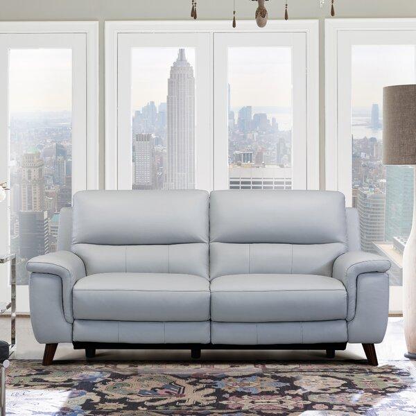 Yosef Leather Reclining Sofa by Red Barrel Studio