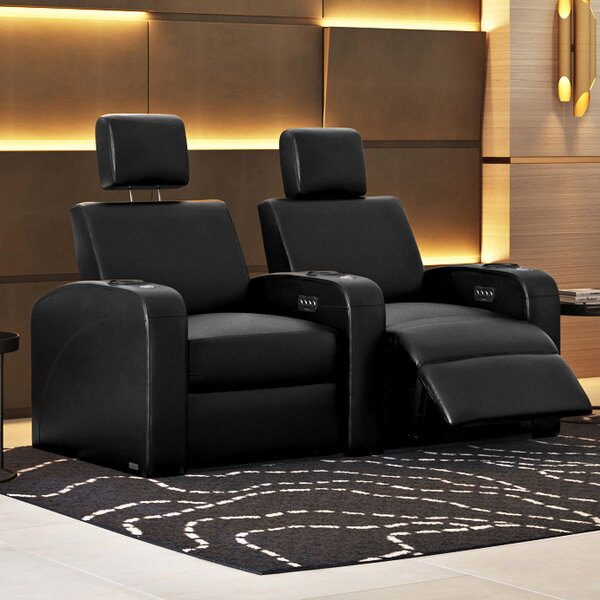 Power Recline Leather Row Seating (Row Of 2) By Latitude Run