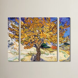 Mulberry Tree 1889 by Vincent Van Gogh 3 Piece Painting Print on Wrapped Canvas Set by Red Barrel Studio