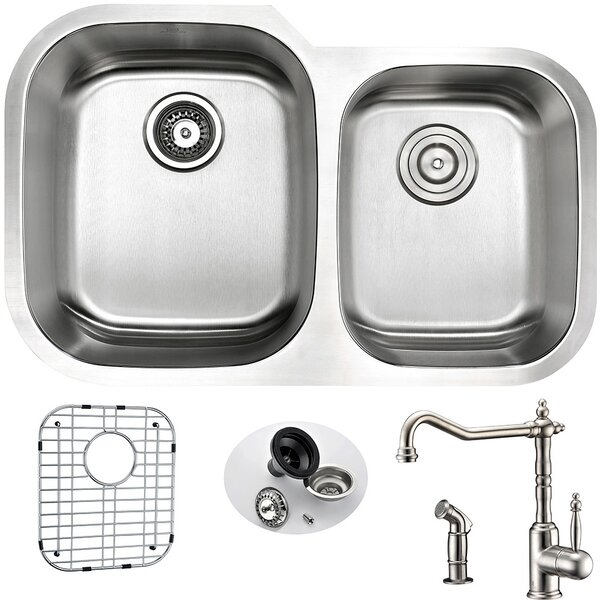 Moore 32 L x 20.75 W Double Bowl Undermount Kitchen Sink with Faucet, Sink Grid and Drain Assembly by ANZZI