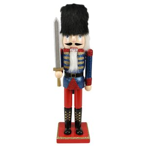 Decorative Wooden Glittered Christmas Nutcracker Soldier with Sword