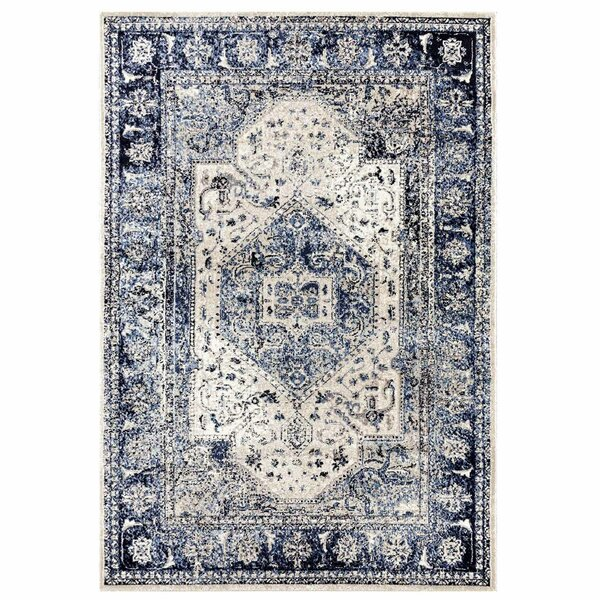 Carr Vintage Navy/Ivory Area Rug by Bungalow Rose