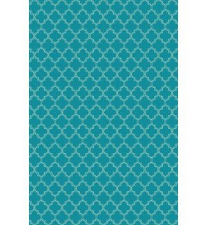 Farris Quatrefoil Design Teal/White Indoor/Outdoor Area Rug by Winston Porter