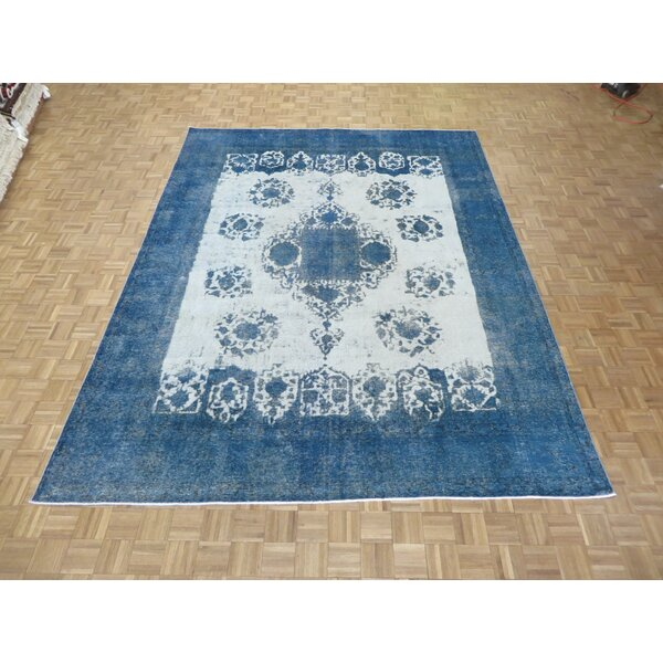 One-of-a-Kind Padro Hand-Knotted Wool Ivory/Sky Blue Area Rug by Bloomsbury Market