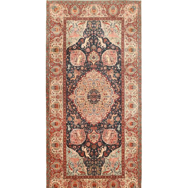 One-of-a-Kind Hand-Knotted Before 1900 Agra Dark Green/Red 6'2 x 12'8 Runner Wool Area Rug