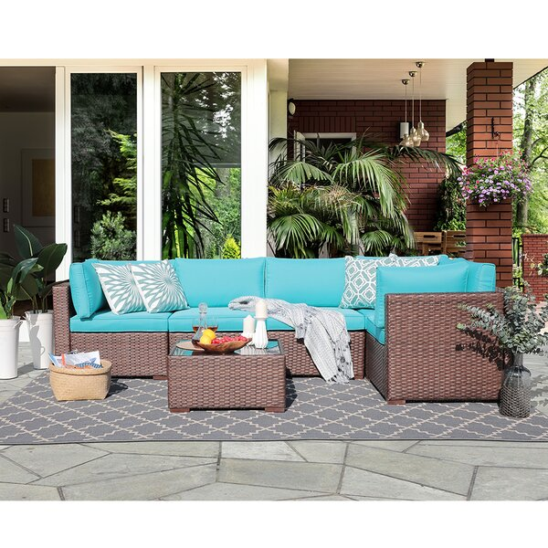 Alexaundra Patio 6 Piece Rattan Sectional Seating Group with Cushions by Latitude Run