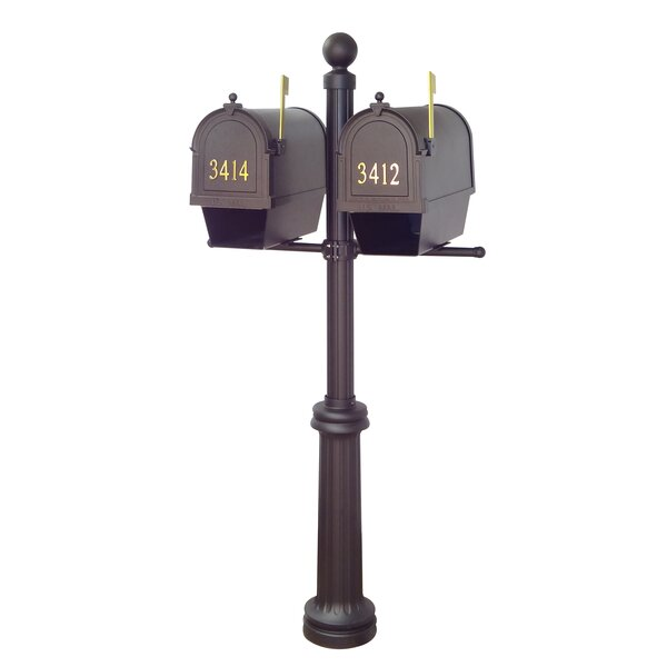 Berkshire Curbside Mailboxes with Fresno Double Mount Post Included by Special Lite Products