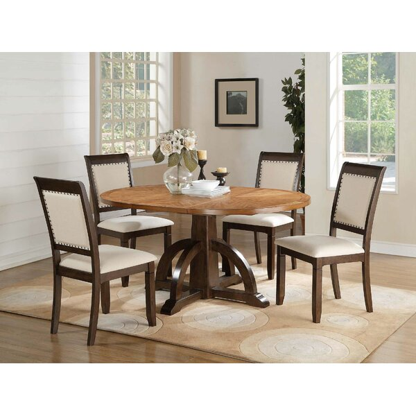 Clarkdale 5 Piece Extendable Solid Wood Dining Set by Loon Peak