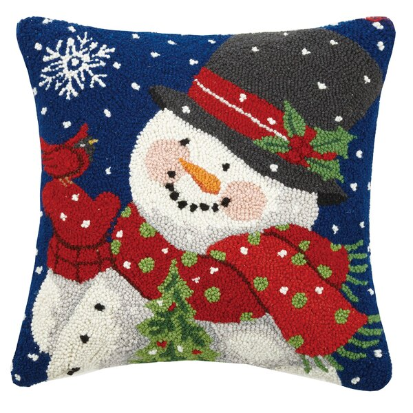 Masse Mitten Snowman with Cardinal Wool Throw Pillow by The Holiday Aisle