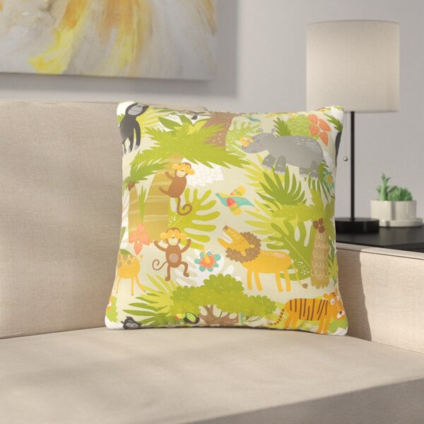 Petit Griffin Roar of the Jungle Animals Outdoor Throw Pillow by East Urban Home