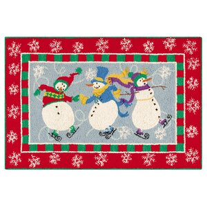Skiing Snowman Wool Red Area Rug