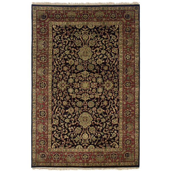 Wadgaon Hand-Knotted Black Area Rug by Meridian Rugmakers