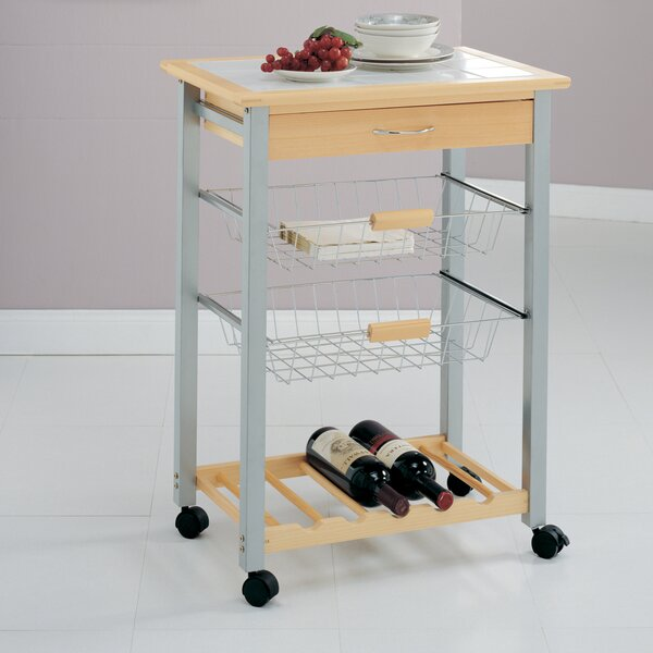 Organize It All Kitchen Cart with Tile Top by Organize It All
