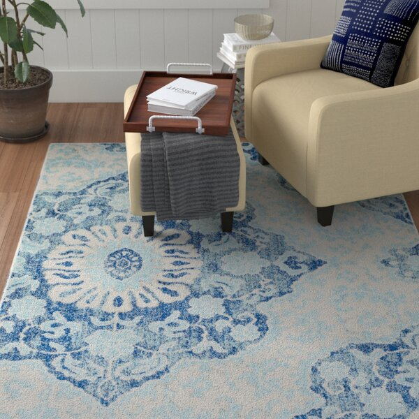 Drennen Distressed Navy/Light Blue Area Rug by Winston Porter