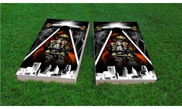 Firefighter City Scape Cornhole Game (Set of 2) by Custom Cornhole Boards