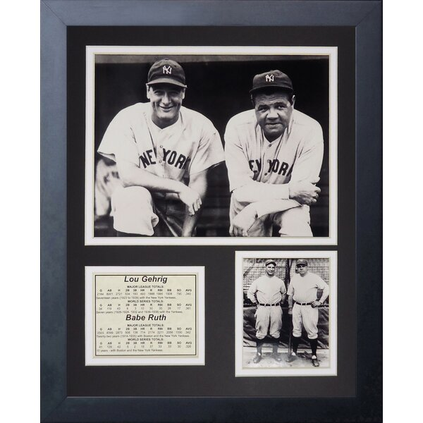 New York Yankees Lou Gehrig and Babe Ruth Portrait Framed Photographic Print by Legends Never Die