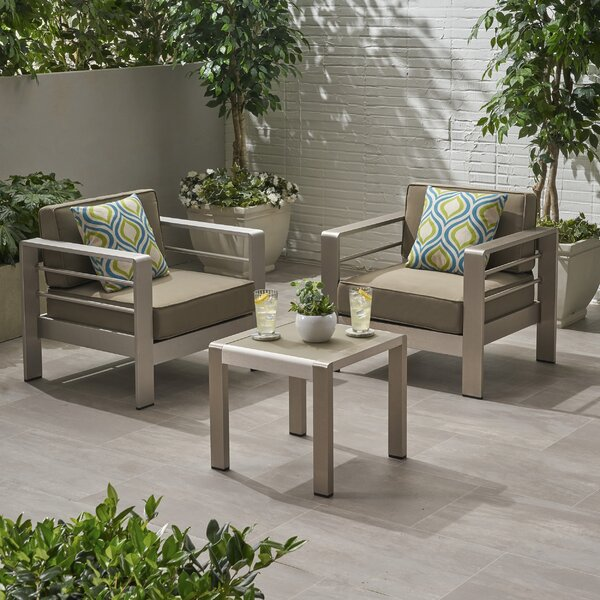 Eaker Outdoor 3 Piece Seating Group with Cushions by Orren Ellis