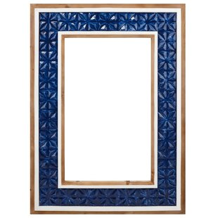 Benzara Stately Appeal Wood and Ceramic Accent Mirror