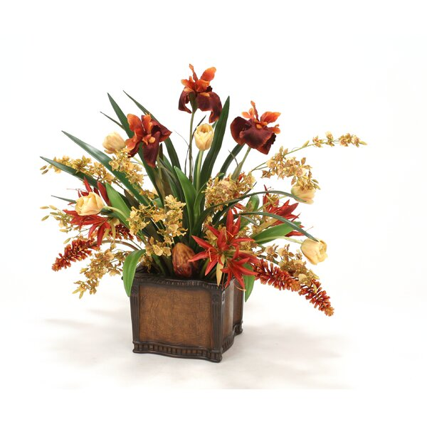 Tulips, Orchids, Irises in Planter by Distinctive Designs