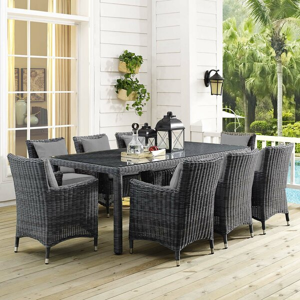 Alaia 9 Piece Rattan Sunbrella Dining Set with Cushions by Brayden Studio