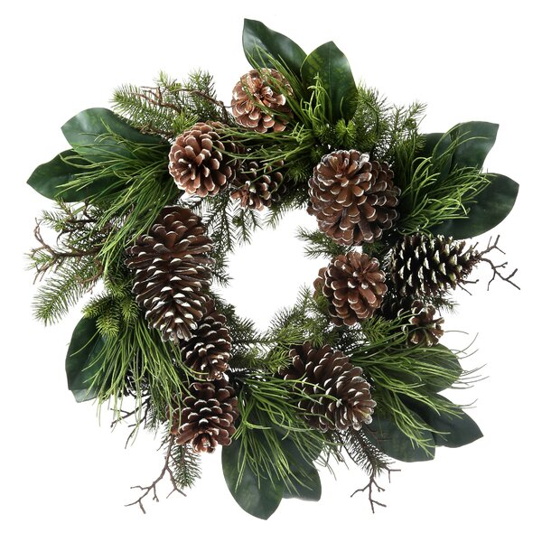 Mixed Leaf/Large Cone 28 Pine/Magnolia Wreath by Millwood Pines