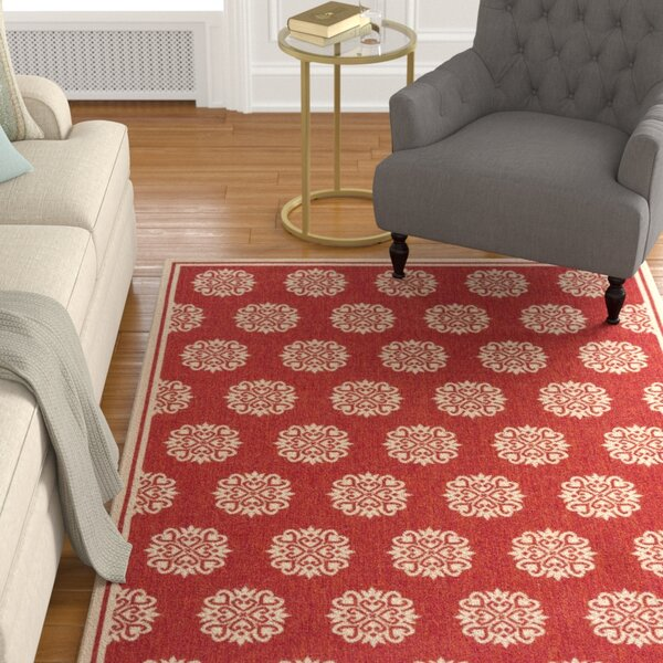 Karpinski Red/Cream Area Rug by Charlton Home