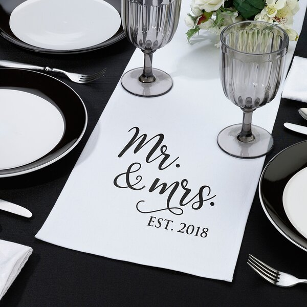 Everman Mr. & Mrs. Est. 2018 Table Runner by The Holiday Aisle