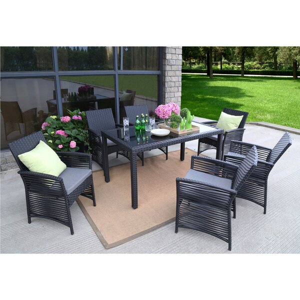 Zayas Backyard Steel Frame 7 Pieces Dining Set with Cushions