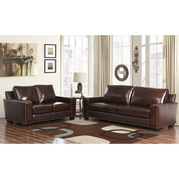 William 2 Piece Leather Living Room Set (Set of 2) by Darby Home Co