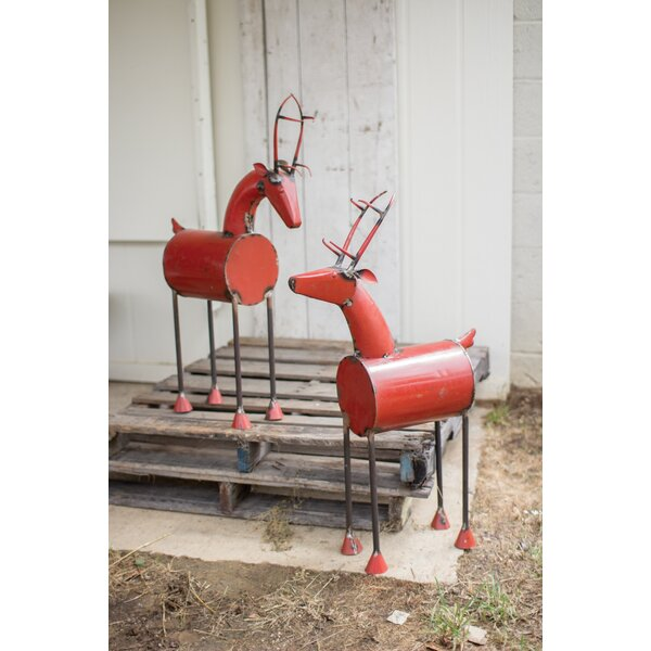 Recycled Iron Reindeer Head Up Set (Set of 2) by 17 Stories