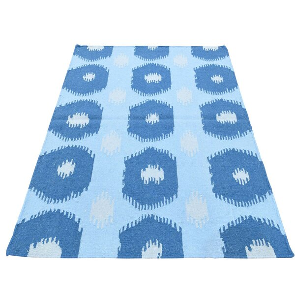 Reversible Kilim Flat Weave Oriental Hand-Knotted Blue Area Rug by Ivy Bronx