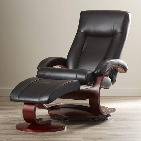Flathead Lake 54 Series Leather Manual Swivel Recliner With Ottoman By Red Barrel Studio