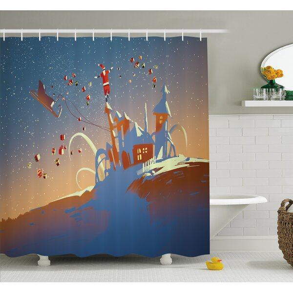 Santa Claus is Coming to Town with a Bunch of Gifts in Winter Art Print Shower Curtain Set by The Holiday Aisle