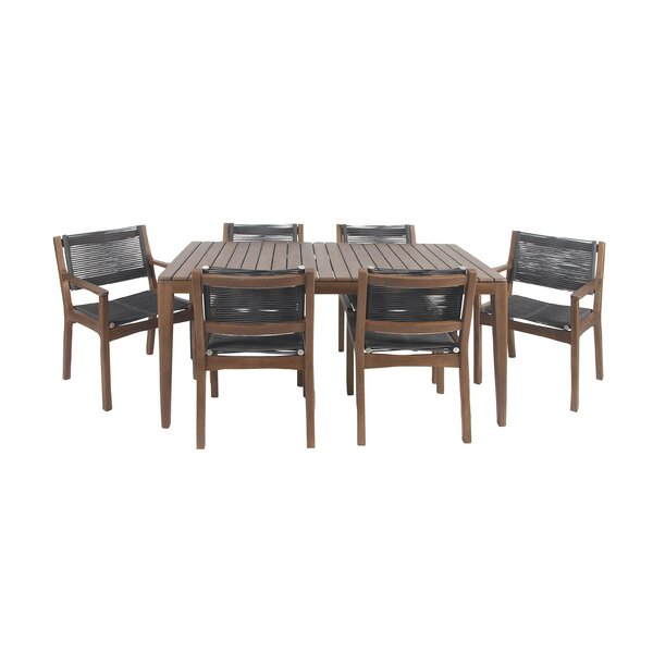 North La Junta 7 Piece Solid Wood Dining Set by Bungalow Rose