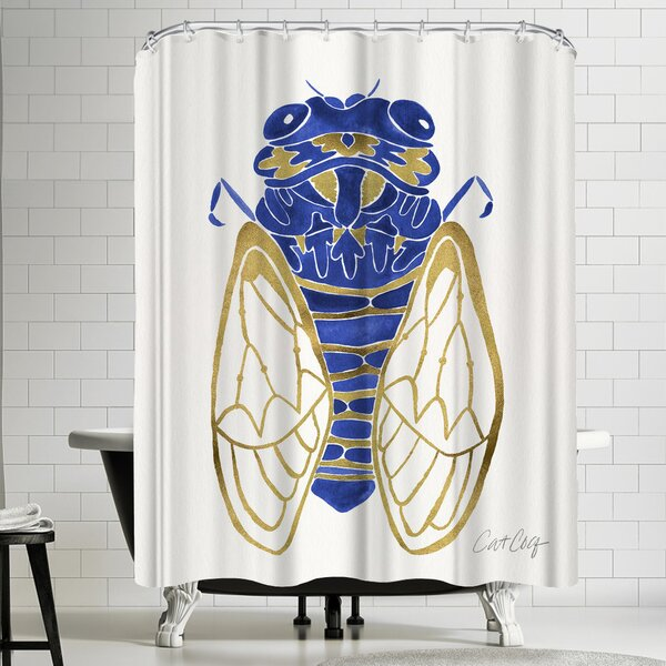 Navy Cicada Shower Curtain by East Urban Home