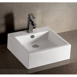 Reviews Isabella Ceramic Square Vessel Bathroom Sink with Overflow By Whitehaus Collection