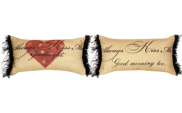Always Kiss Me Goodnight Knife Edge Cotton Lumbar Pillow by Manual Woodworkers & Weavers