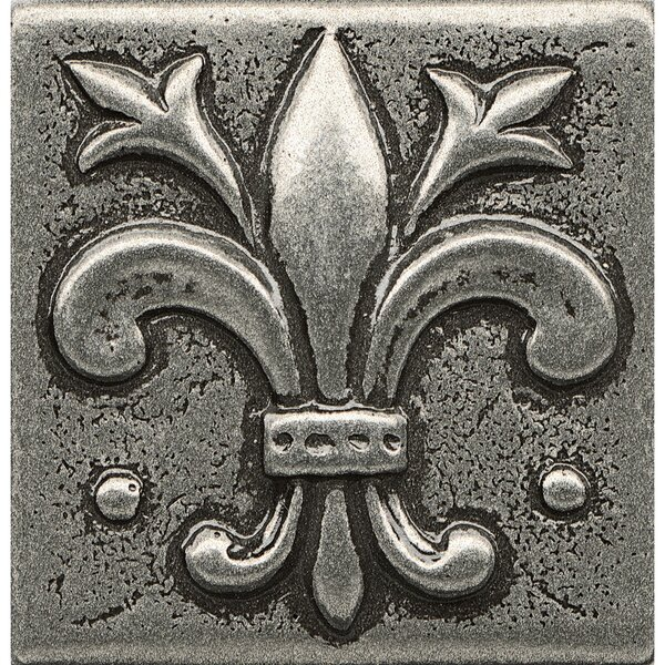 Ambiance Insert Flor De Lis 2 x 2 Resin Tile in Pewter by Bedrosians