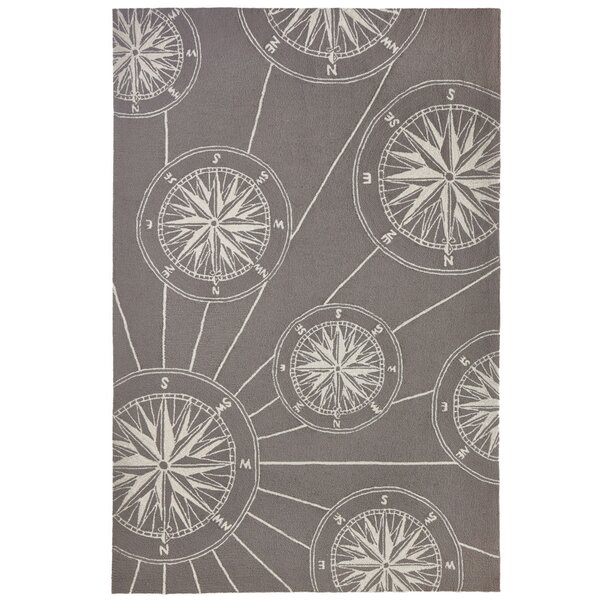 Shelborne Compass Hand-Tufted Gray Indoor/Outdoor Area Rug by Breakwater Bay