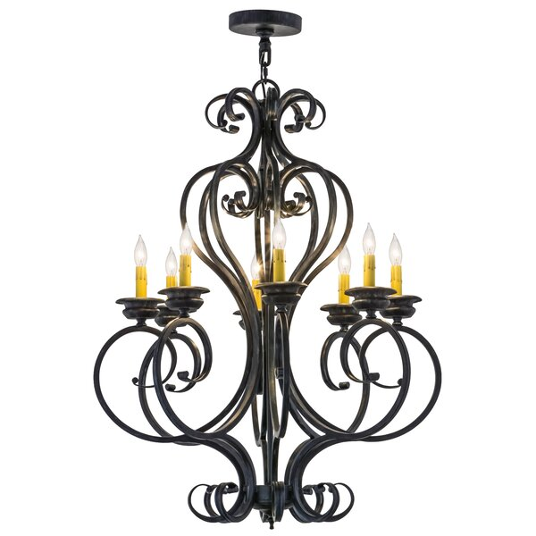 8 - Light Candle Style Geometric Chandelier by Meyda Tiffany Meyda Tiffany