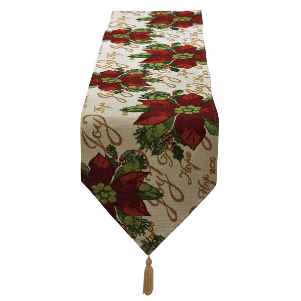 Decorative Christmas Poinsettias Script Design Tapestry Table Runner by The Holiday Aisle