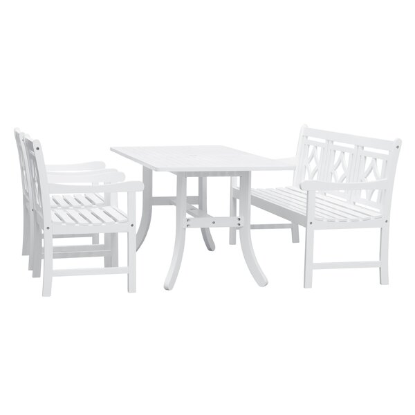 Amabel 4 Piece Patio Dining Set by Beachcrest Home